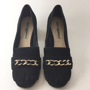Karl Lagerfeld Block Heel Suede Slip on size 8